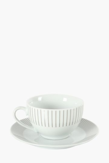 Porcelain Sunburst Cup And Saucer