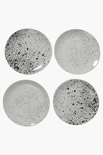 4 Piece Porcelain Splatter Side Plates