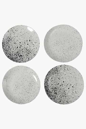4 Piece Porcelain Splatter Dinner Plates