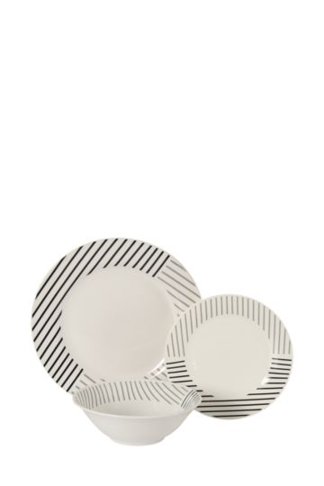 12 Piece Urban Striped Dinner Set