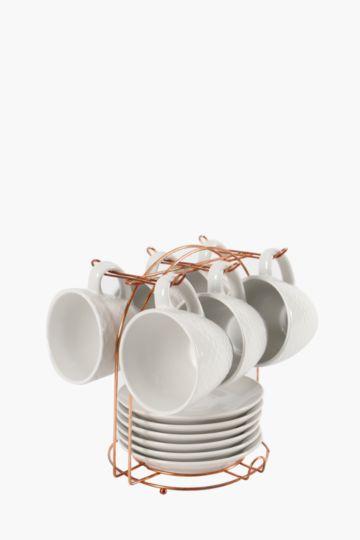 13 Piece Scallop Tea Set On Copper Stand