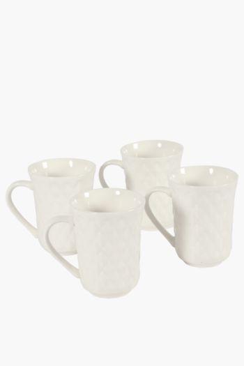 4 Pack Porcelain Textured Mugs