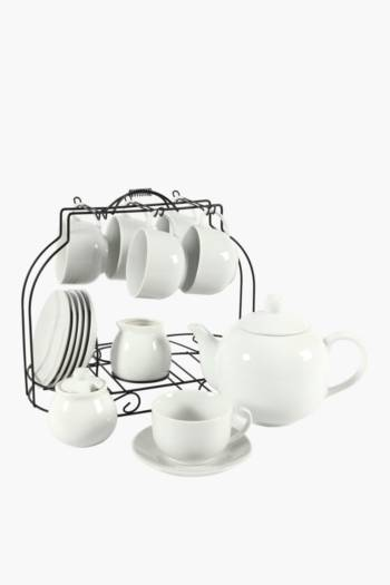 16 Piece Tea Set With Chrome Stand