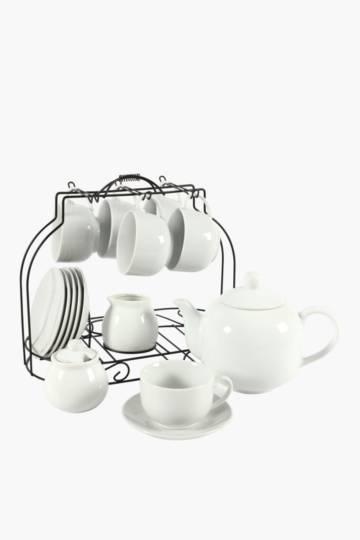 16 Piece Tea Set With Chrome Stand