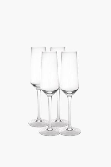4 Pack Etched Champagne Flutes