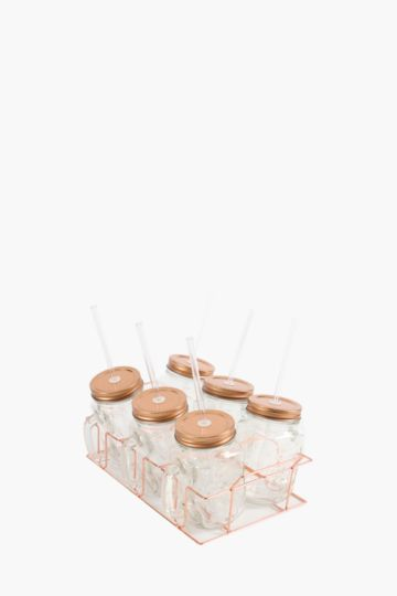 6 Pack Jam Jars With Carrier