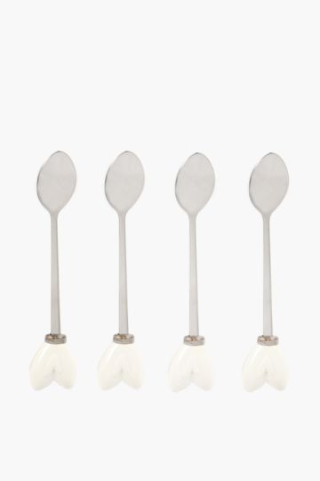 4 Pack Heart Teaspoons