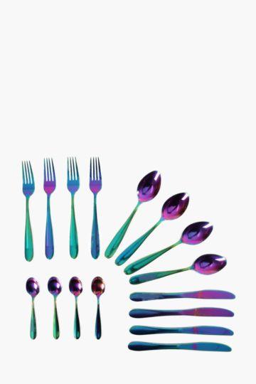 16 Piece Iridescent Cutlery Set