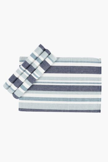 4 Pack Stripe Ribbed Placemats