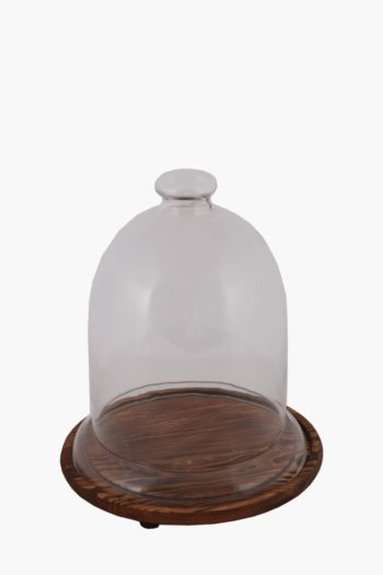 Wooden Base Glass Cloche