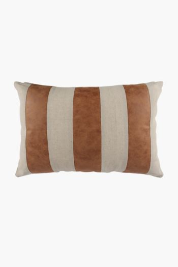 Pu Panel And Linen Look Scatter Cushion, 40x60cm