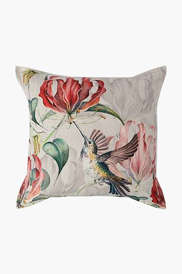 Printed Flame Lily Feather Scatter Cushion, 60x60cm