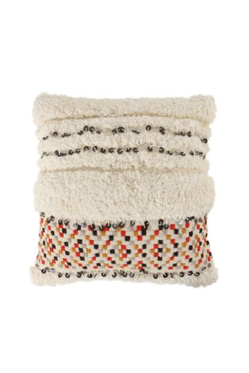 Cotton Shaggy Embroidered 50x50cm Scatter Cushion