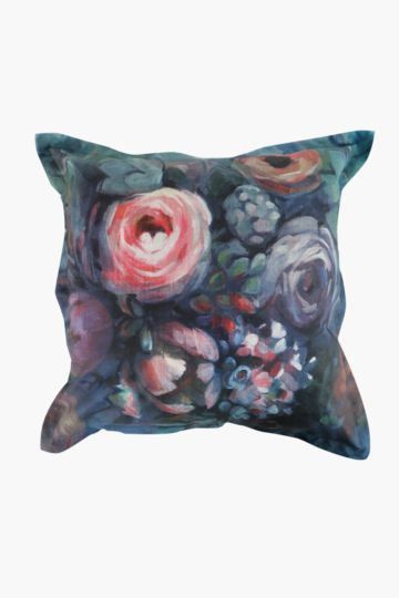 Printed Floral Paint Feather 60x60cm Scatter Cushion