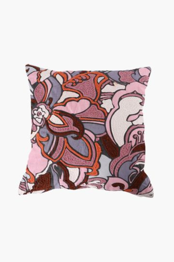 Embroidered Retro Floral 50x50cm Scatter Cushion