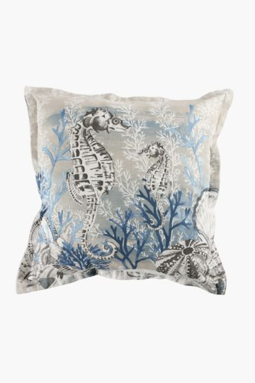 Printed Seahorse 55x55cm Scatter Cushion