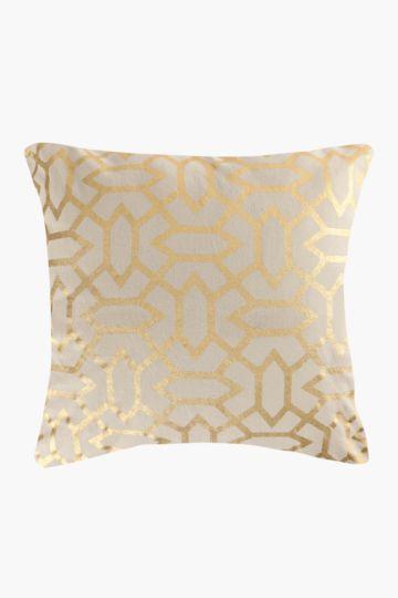 Printed Geometric Metallic 50x50cm Scatter Cushion