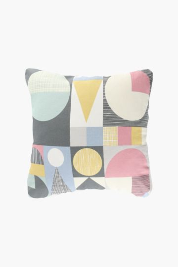 Printed Geometric Scatter Cushion, 50x50cm