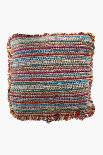 Multi Stripe Tassel Floor Cushion, 75x75cm