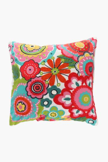 Embroidered Tropical Flower Scatter Cushion, 50x50cm
