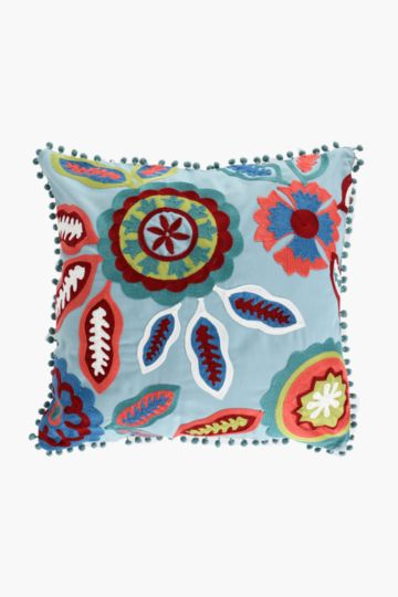 Embroidered Suzani Pom Pom Scatter Cushion, 50x50cm