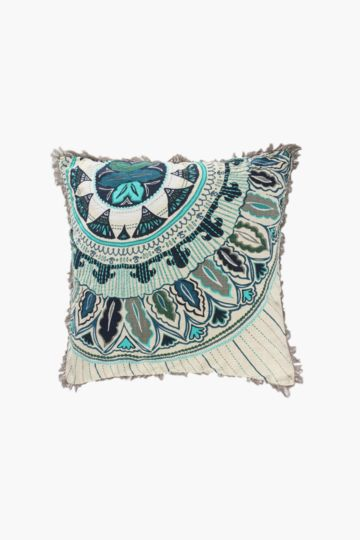 Embroidered Moroccan Medallion Scatter Cushion, 50x50cm