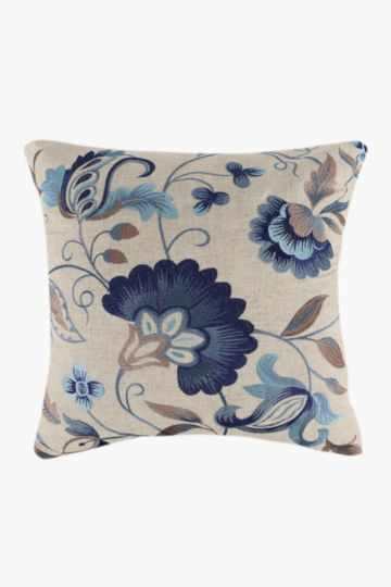 Embroidered Jacobean Floral Scatter Cushion, 50x50cm