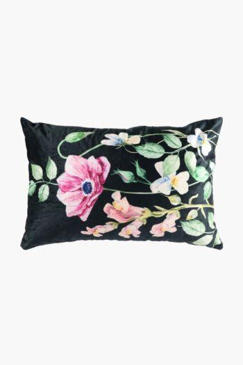 Velvet Floral Garden Scatter Cushion, 40x60cm