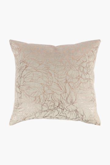 Foil Floral Linen Feather Scatter Cushion, 60x60cm