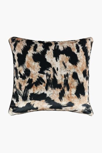 Velvet Leopard Abstract Feather Scatter Cushion, 60x60cm