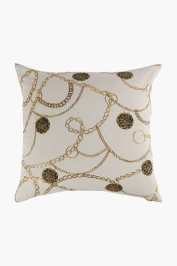 Printed Scarf Chains Scatter Cushion, 50x50cm