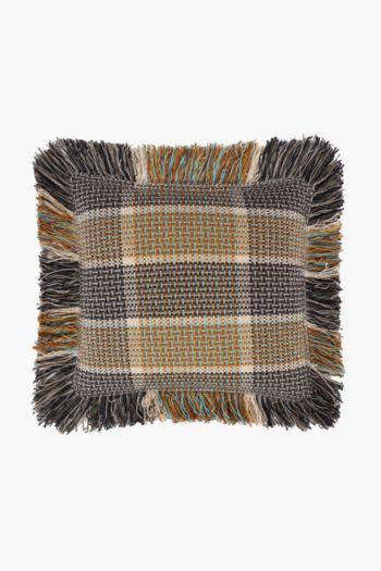 Check Fringe Weave Scatter Cushion, 50x50cm