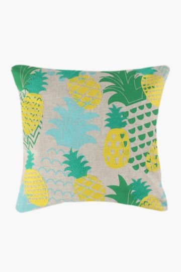 Embroidered Pineapples Scatter Cushion, 50x50cm
