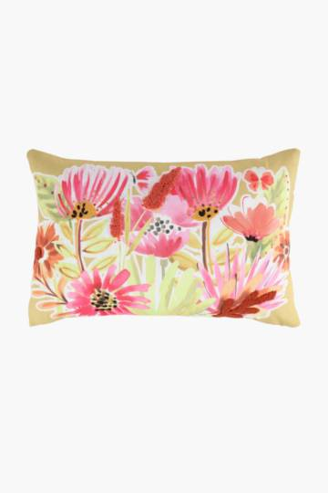 Printed Embroidered Floral Scatter Cushion, 40x60cm