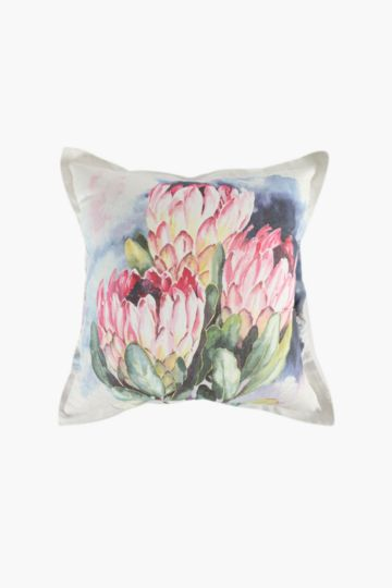 Printed Paint Protea Scatter Cushion, 55x55cm
