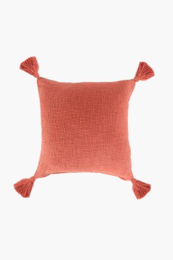 Slub Tassel Scatter Cushion, 50x50cm