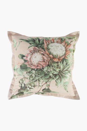 Printed Elegant Protea Scatter Cushion, 55x55cm