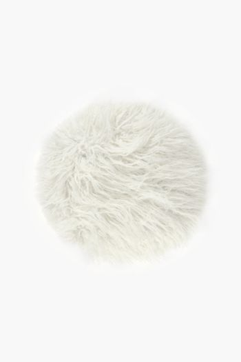 Round Faux Fur Scatter Cushion, 45cm