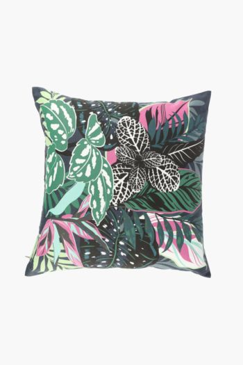 Printed Jungle Leaves Scatter Cushion, 50x50cm
