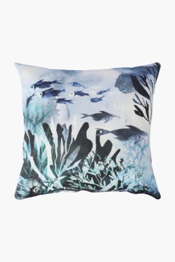 Printed Seaweed Scatter Cushion, 50x50cm