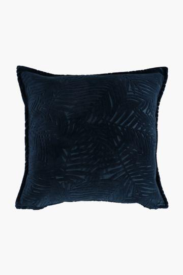 Velvet Tropical Fern Feather Scatter Cushion, 60x60cm