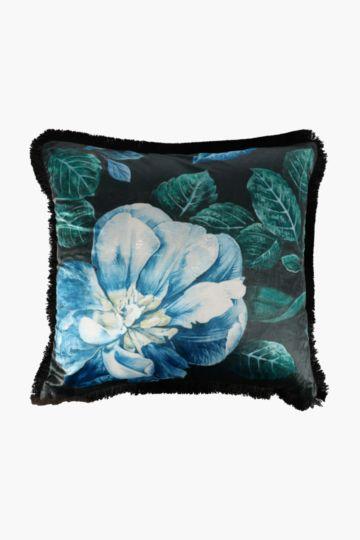 Velvet Flower Feather Scatter Cushion, 60x60cm