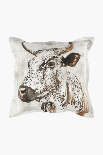 Printed Transkei Nguni Scatter Cushion, 55x55cm