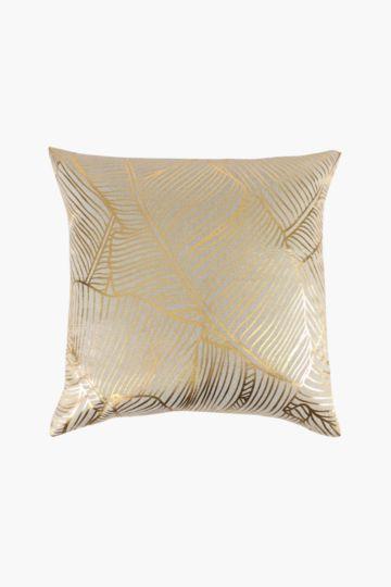 Printed Foil Leaf Scatter Cushion, 55x55cm