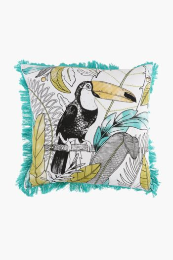 Embroidered Toucan Frayed Scatter Cushion, 50x50cm