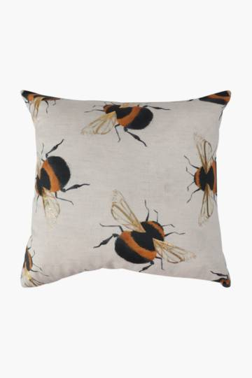 Printed Bee Foil Scatter Cushion, 50x50cm