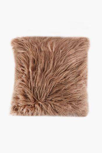 Faux Fur Mongolian Scatter Cushion, 48x48cm