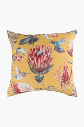 Printed Protea And Bird Scatter Cushion, 50x50cm