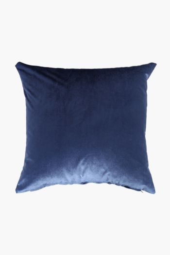 Velvet And Linen Scatter Cushion, 48x48cm
