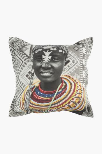 Printed Beaded Portrait Scatter Cushion, 55x55cm